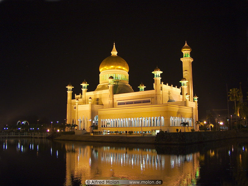 08 Mosque with golden domes at night