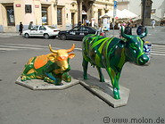 13 Painted cow statues